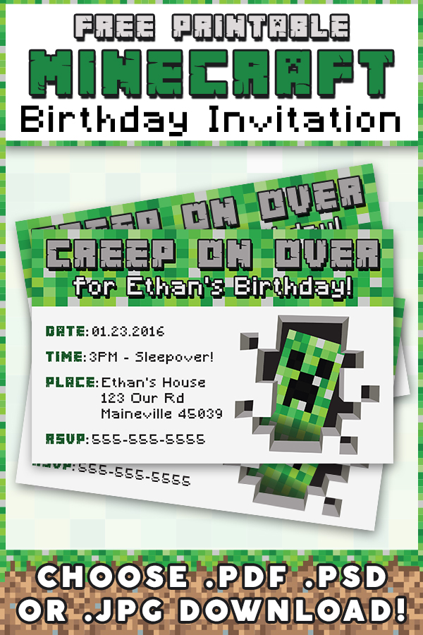 Influential image for free printable minecraft birthday invitations