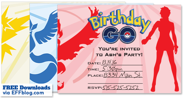 Pokemon Go Birthday Go Free Printable Invitations