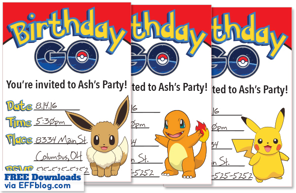 Pokémon GO: Birthday GO Free Printable Invitations