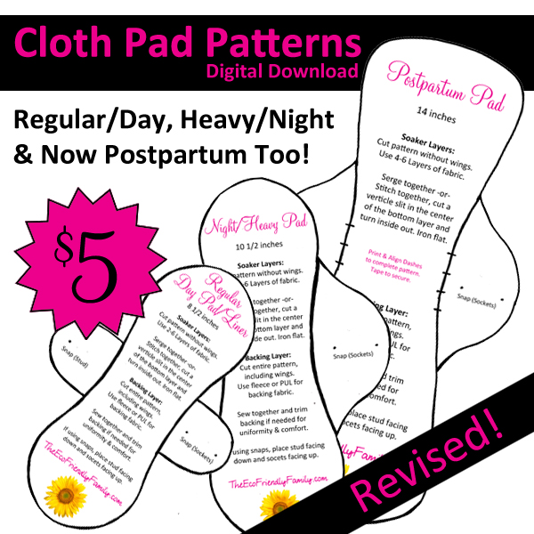 Postpartum Cloth Pad Pattern The Eco Friendly Family