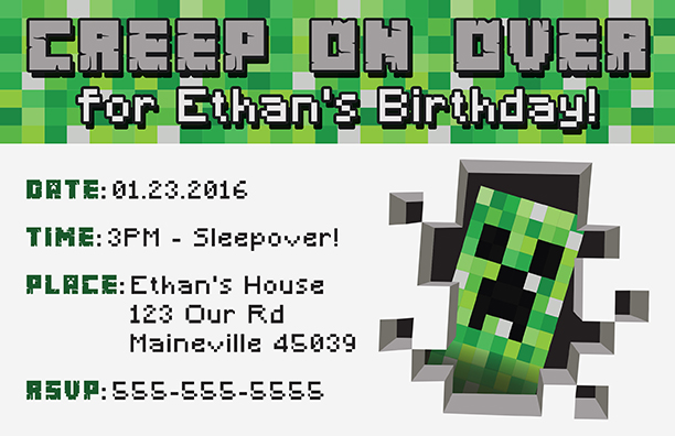 image relating to Minecraft Birthday Banner Free Printable referred to as Cost-free Minecraft Printable Invitation
