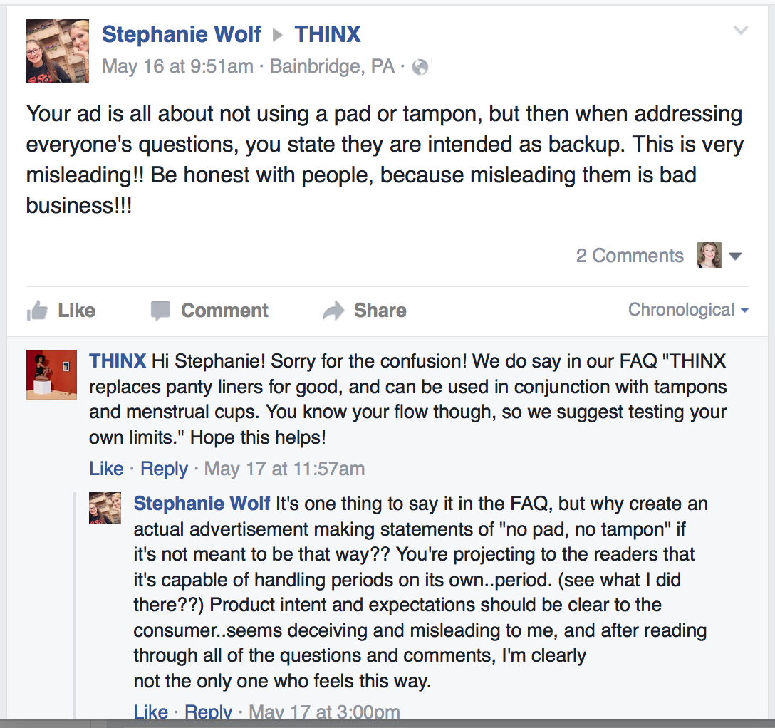 THINX Transparency Complaints