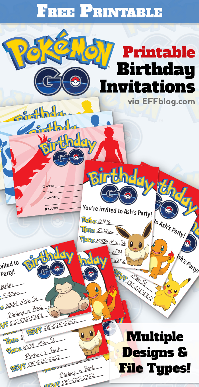Pokemon GO Birthday Free Printable Invitations