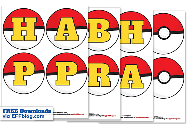 graphic relating to Pokeball Printable referred to as Pokémon Transfer: PokéBanner Free of charge Printable Birthday Banner