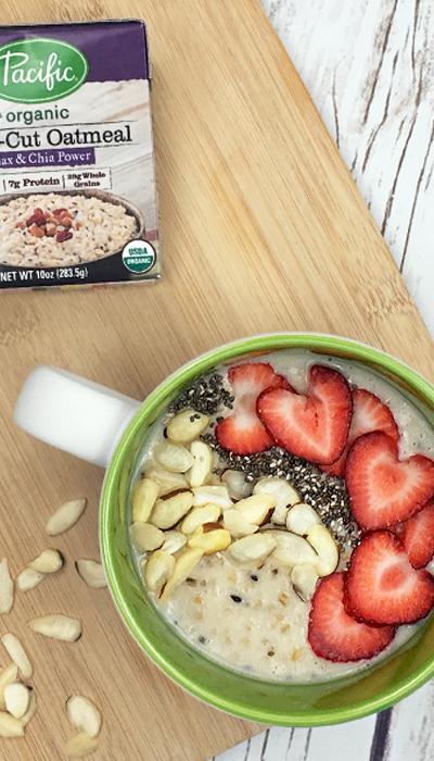 Almond Chia Steel-Cut Oatmeal Bowls - A simple, healthy, and beautiful breakfast that is ready in two minutes, flat.